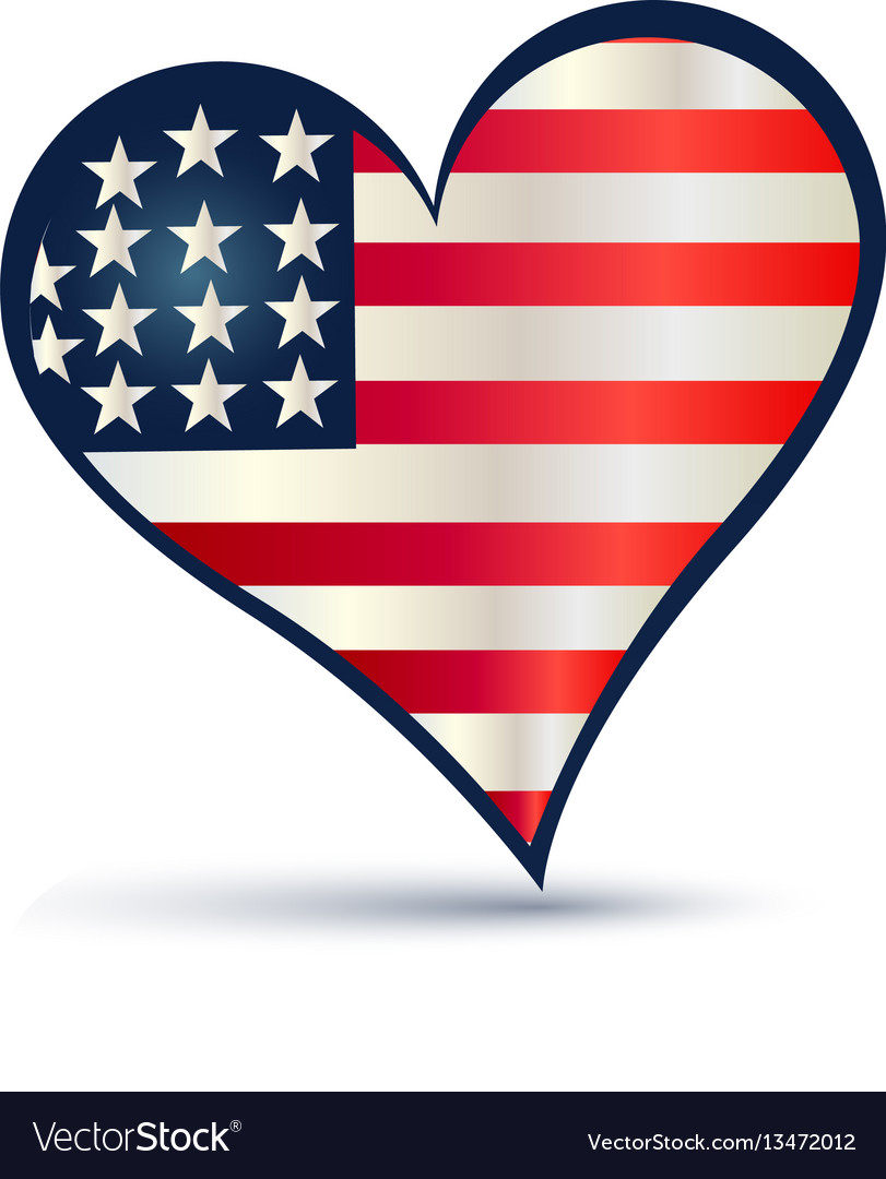 usa flag love heart logo royalty free vector image rh vectorstock com usa flag coloring us flag logo pic