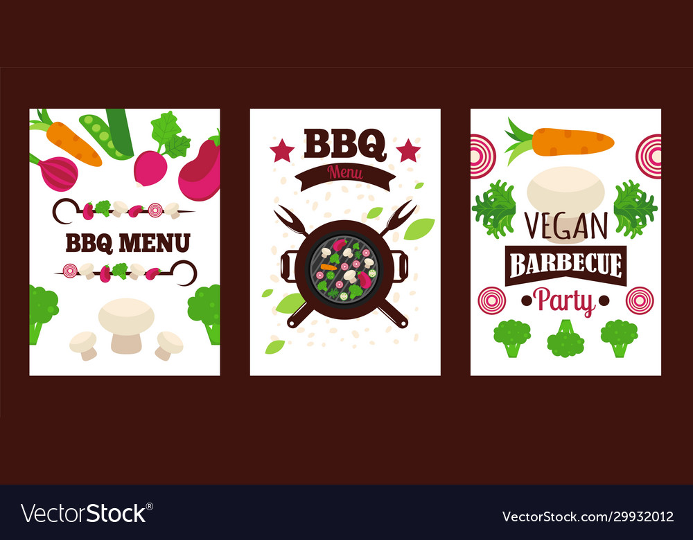 Vegetarian Barbecue Banner Vegan Grill Menu Cover Vector Image