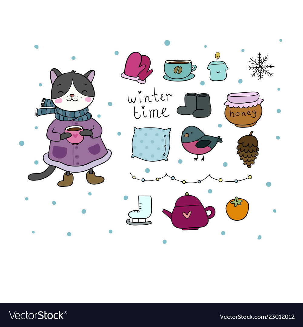 winter set cute cartoon kitty and cozy things for vector image