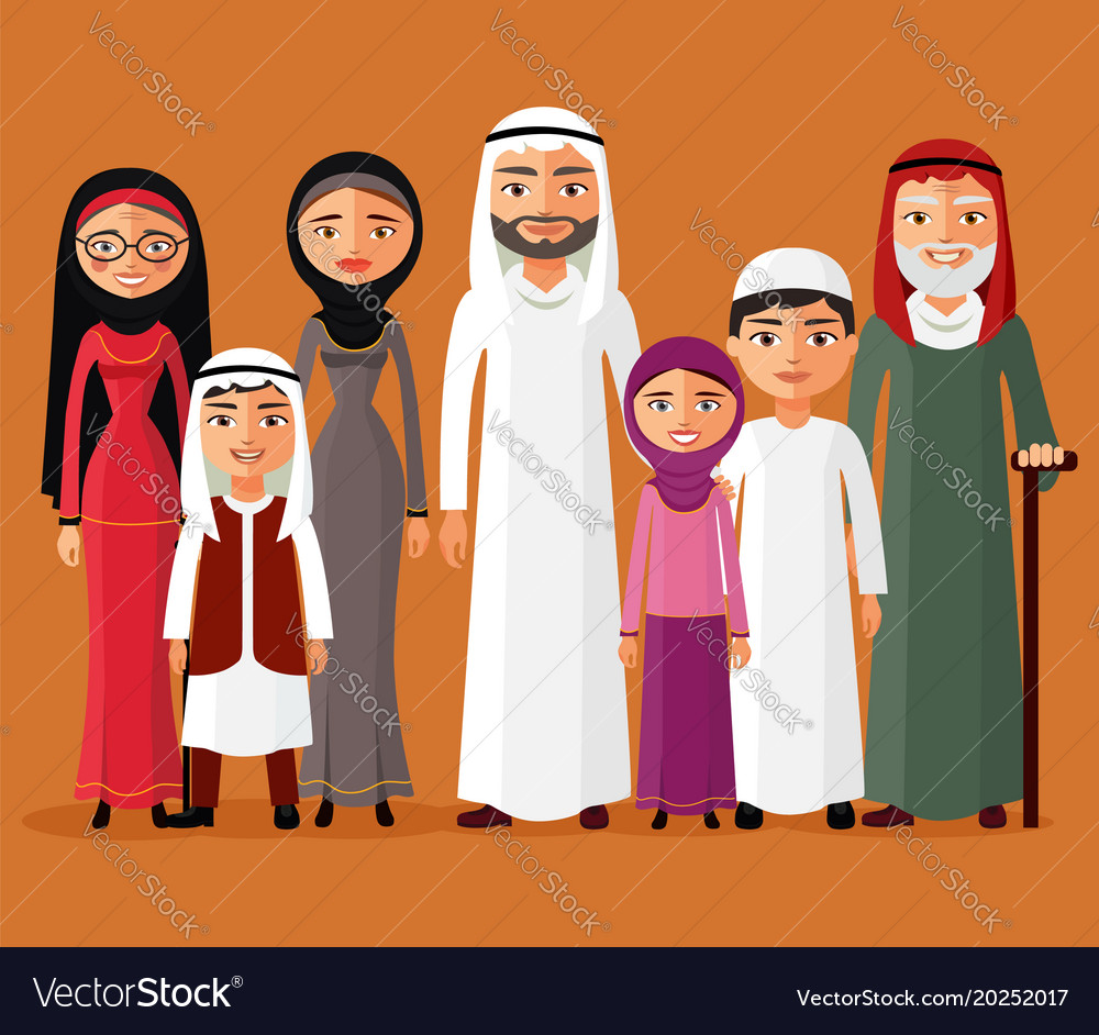 Arab family muslim people big family