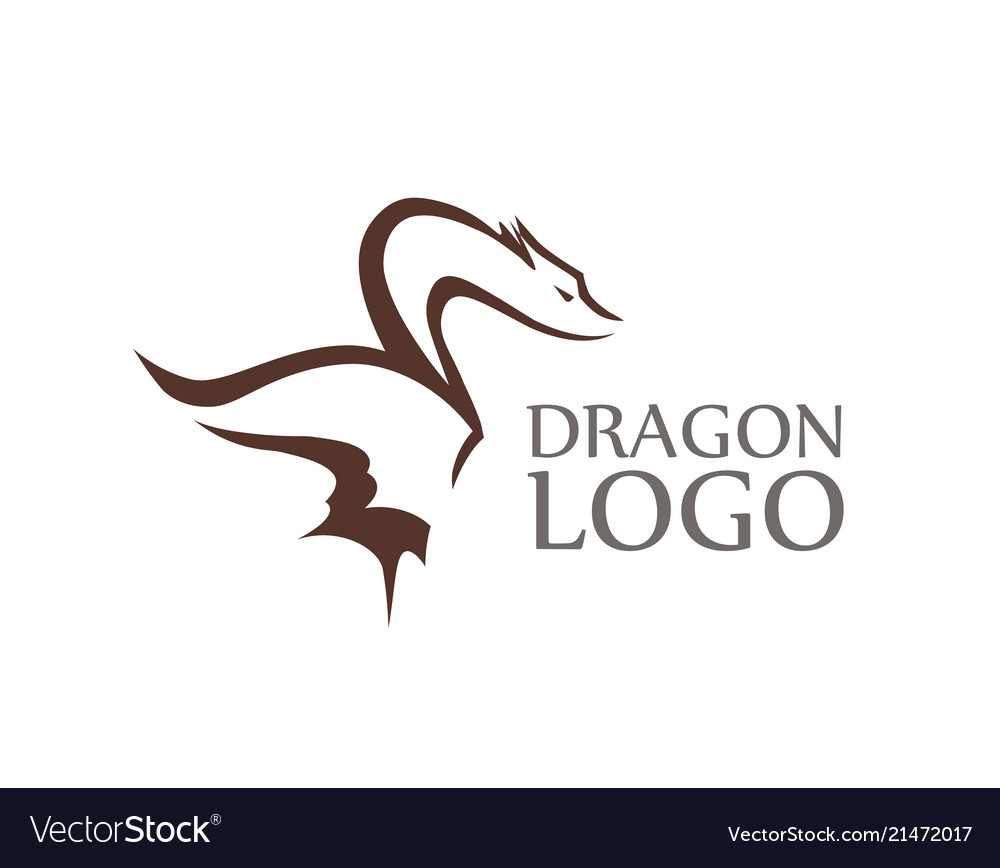 Dragon logo with sample of caption isolated on