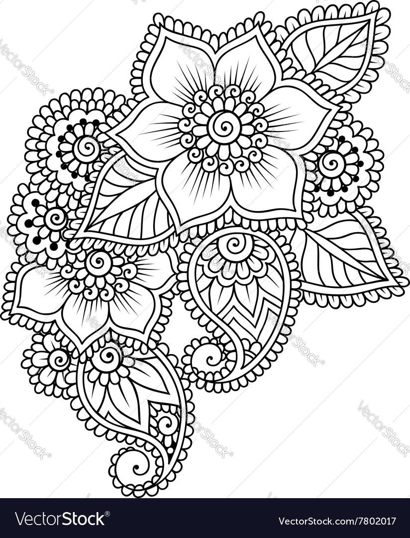 Hand Drawn Abstract Henna Mehndi Flower Ornament Vector Image
