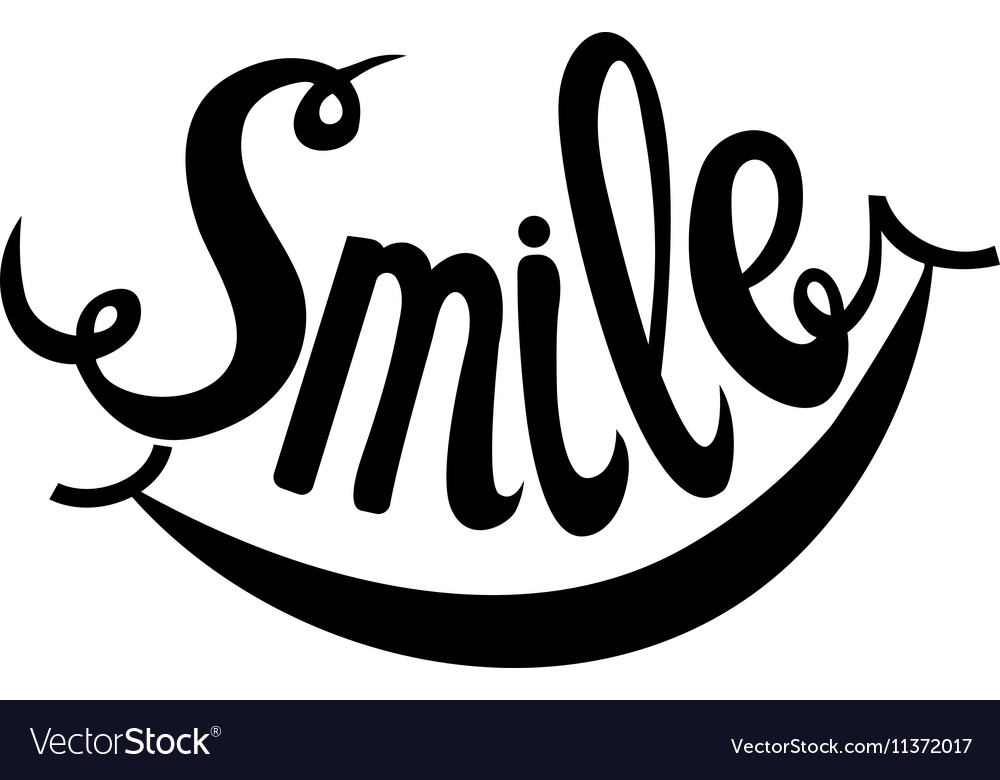 hand drawn lettering word smile royalty free vector image rh vectorstock com smile vector app smiley vector