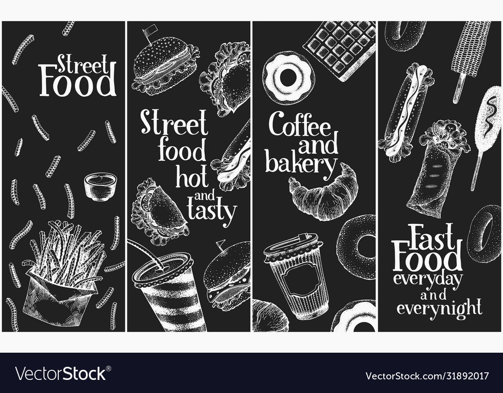 Hand drawn street food banners set fast food on