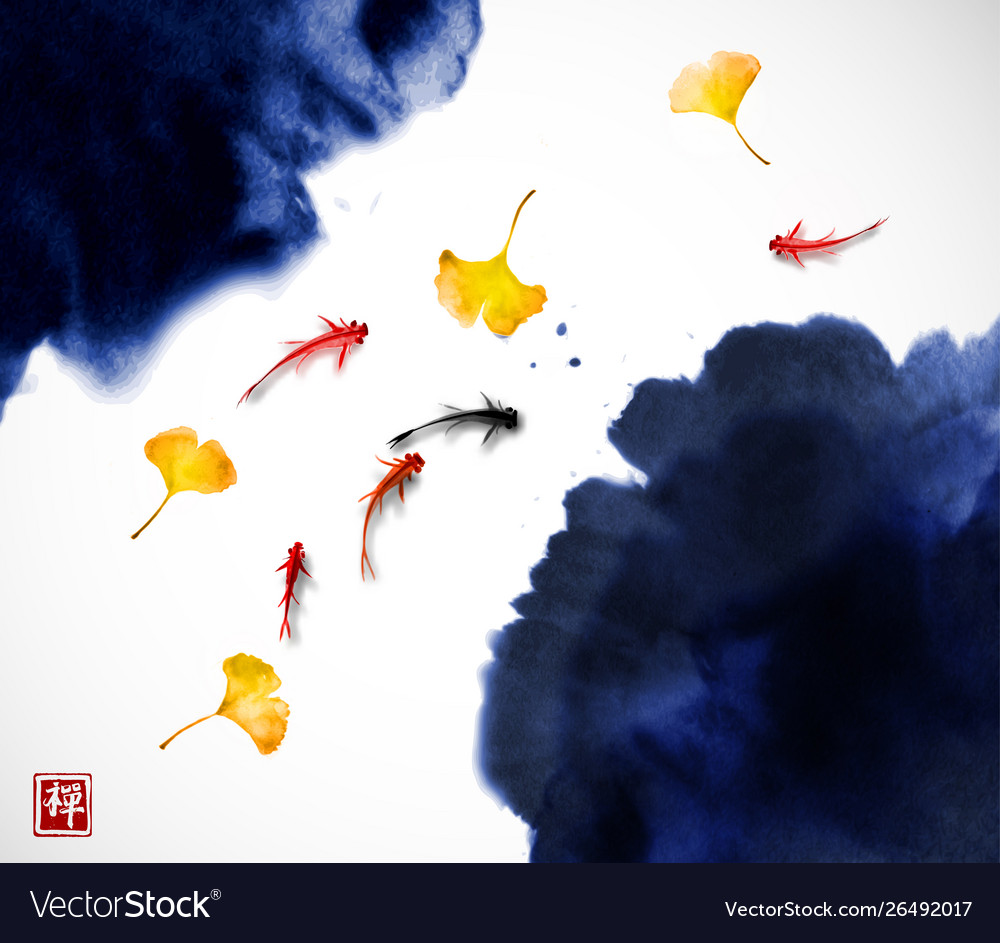 Liitle koi carps and yellow autumn leaves in water