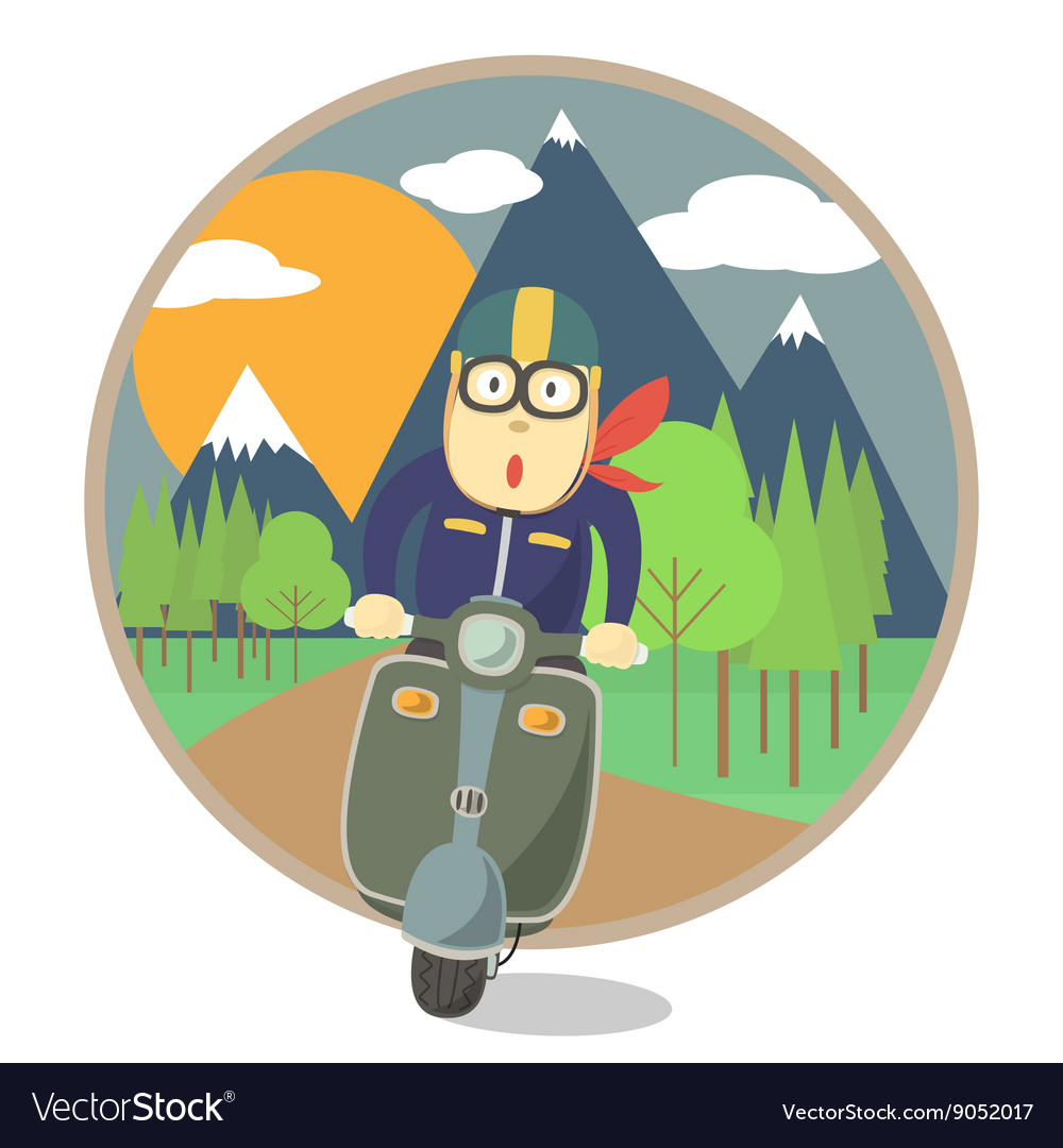 Man travel with motorcycle vector image