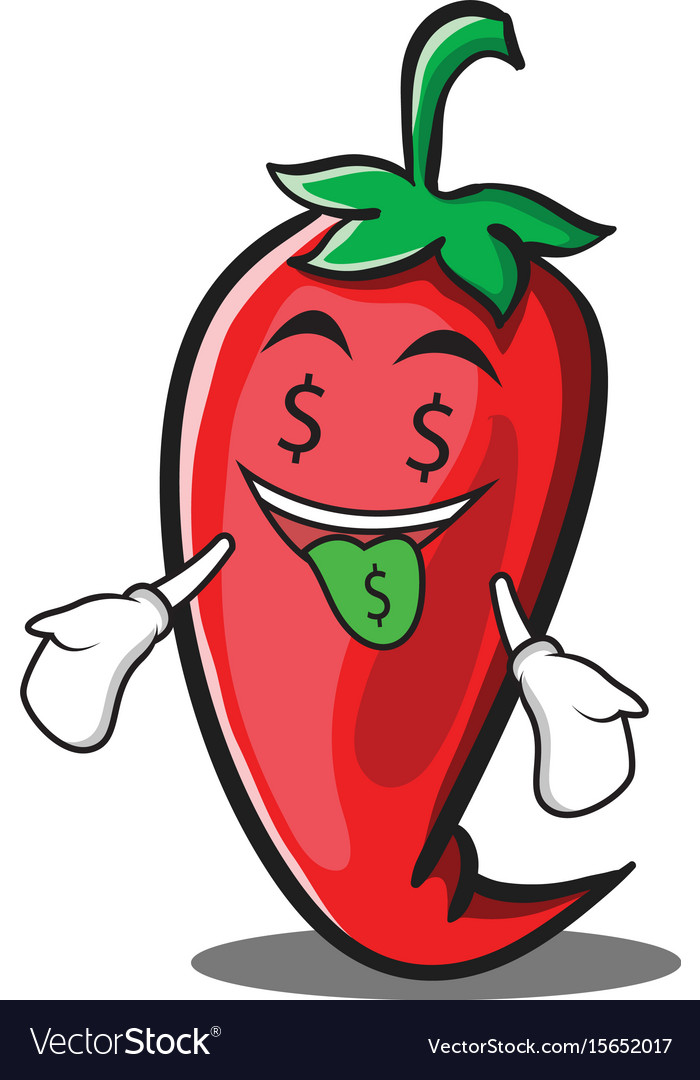 Money mouth red chili character cartoon