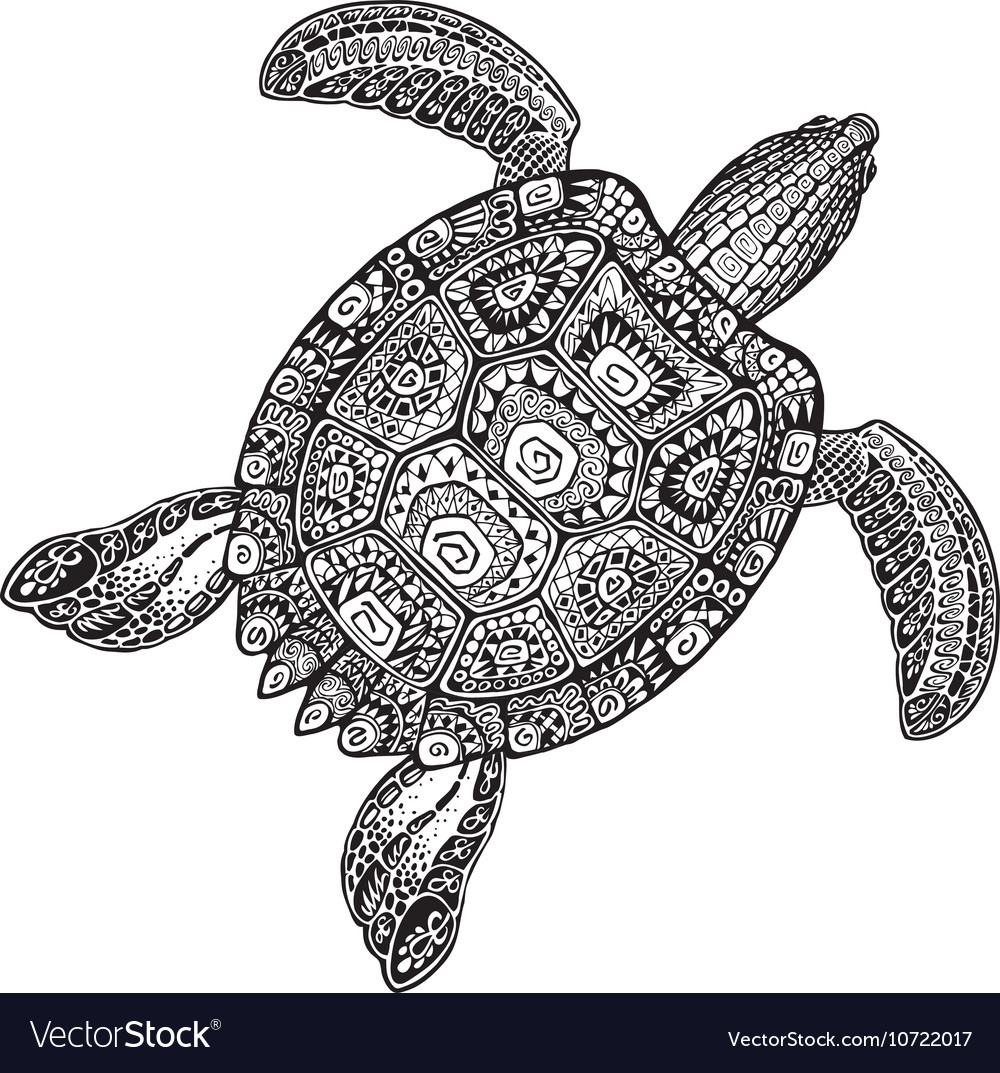 Ornate turtle in tattoo style isolated on white