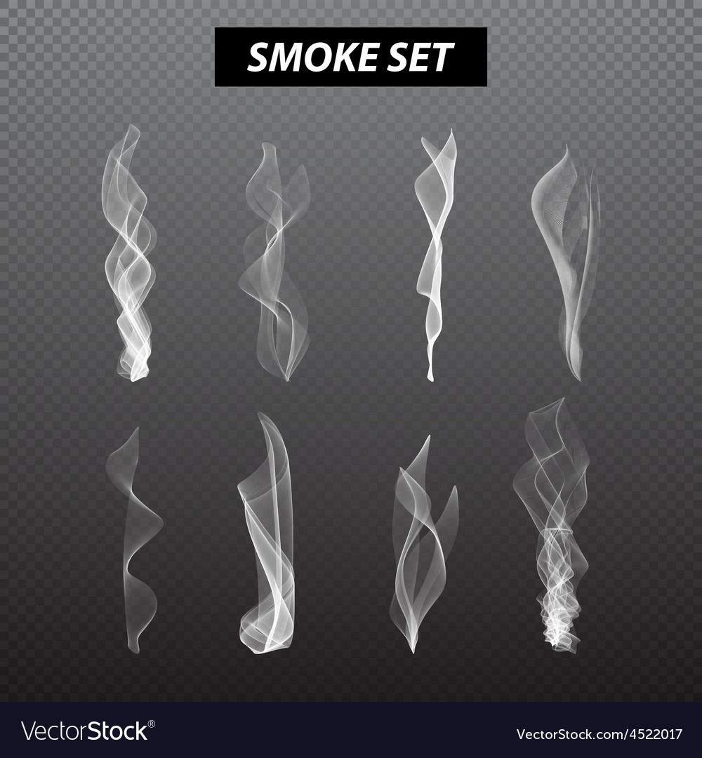 Realistic smoke design Set black background