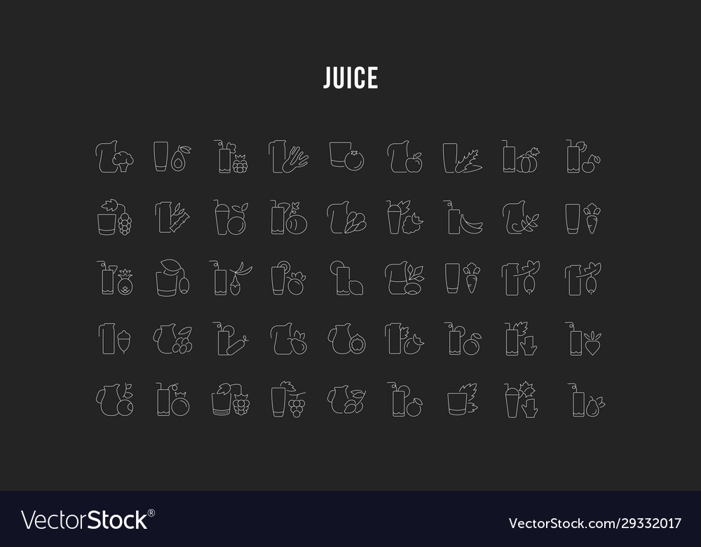 Set line icons juices