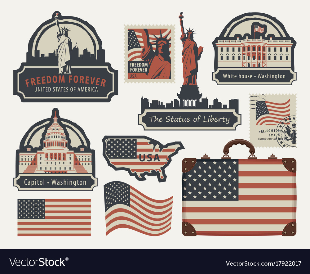 Set of american symbols and landmarks vector image