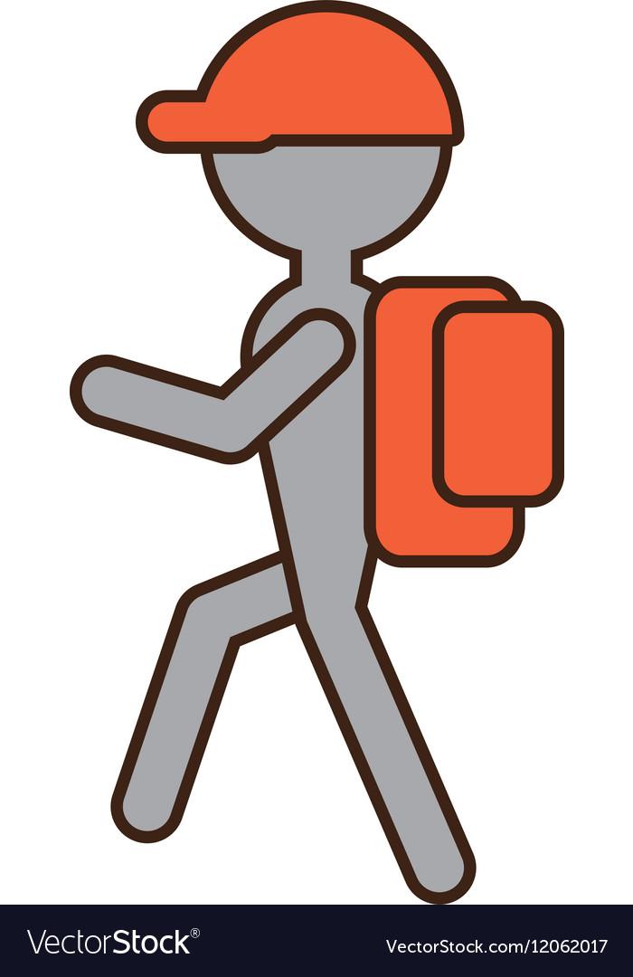 Silhouette man hiking orange cap bag