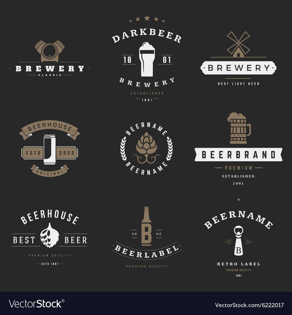 Vintage beer brewery logos emblems labels