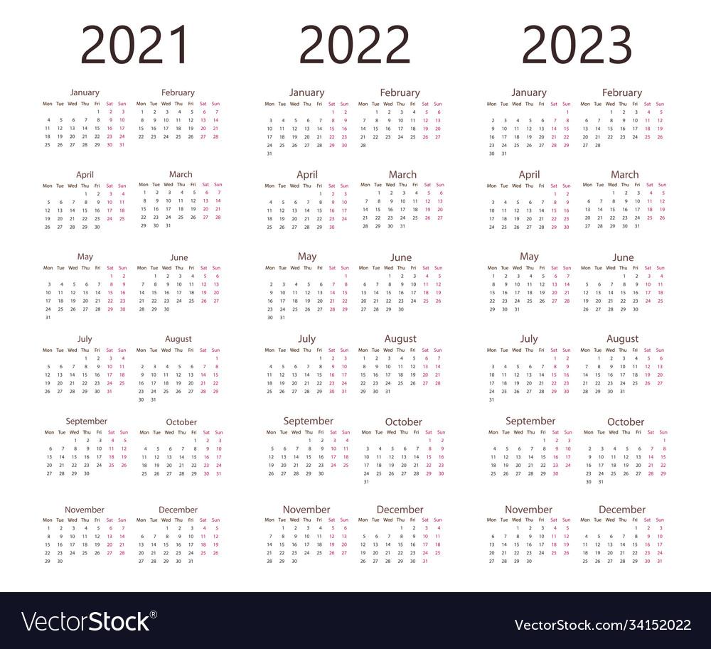 2022 2023 Pocket Calendar.2021 2022 2023 Calendar Week Monday Royalty Free Vector
