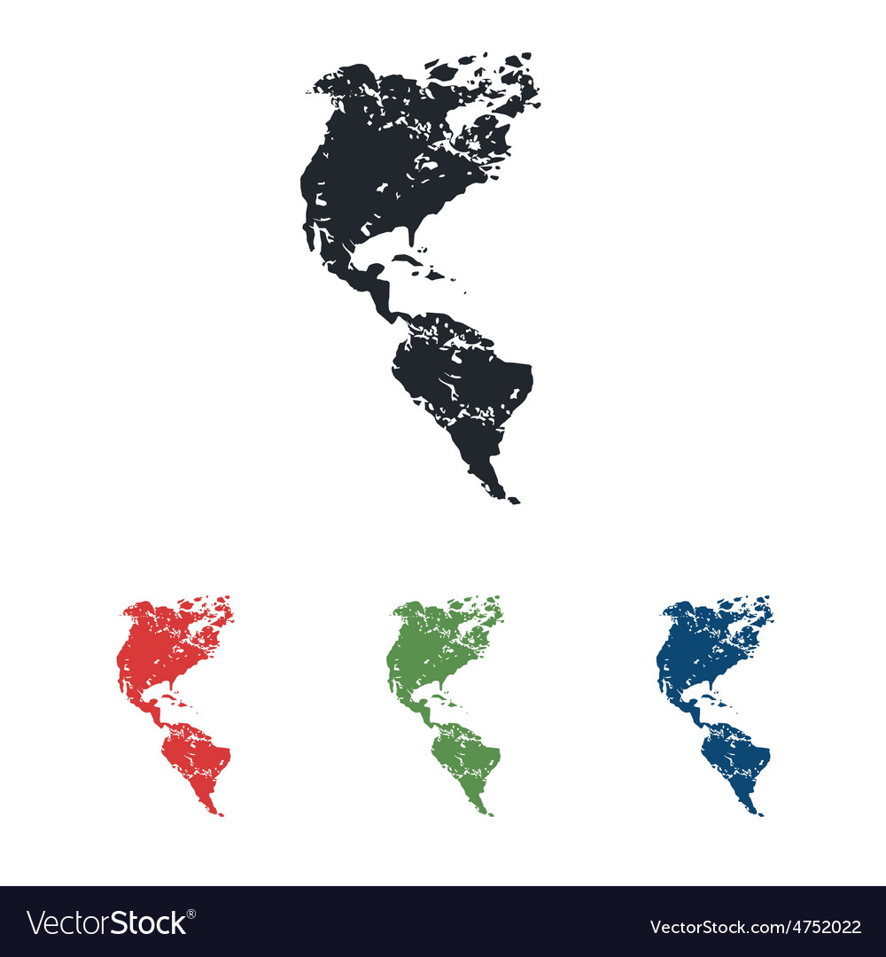 American continents grunge icon set