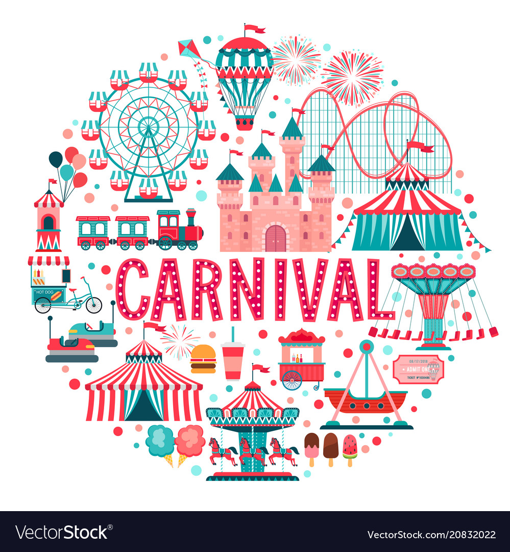 Amusement park concept circus carnival