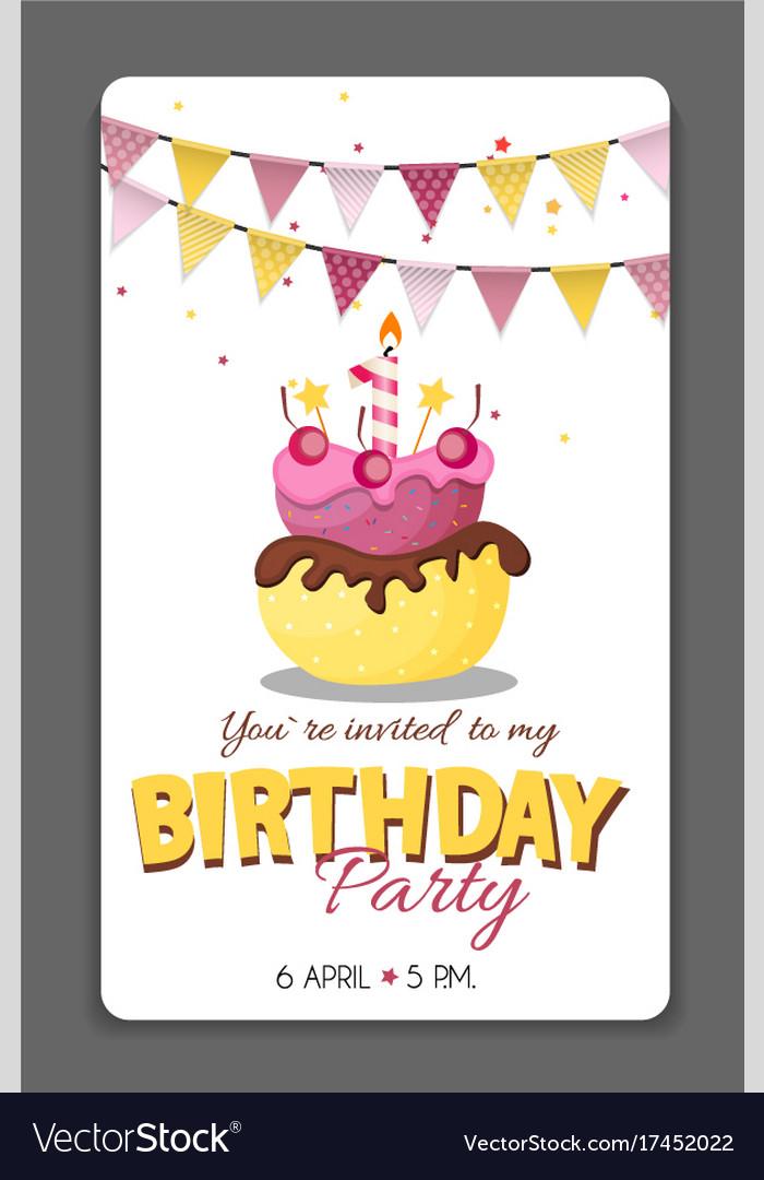 Birthday party invitation card template royalty free vector birthday party invitation card template vector image stopboris Gallery
