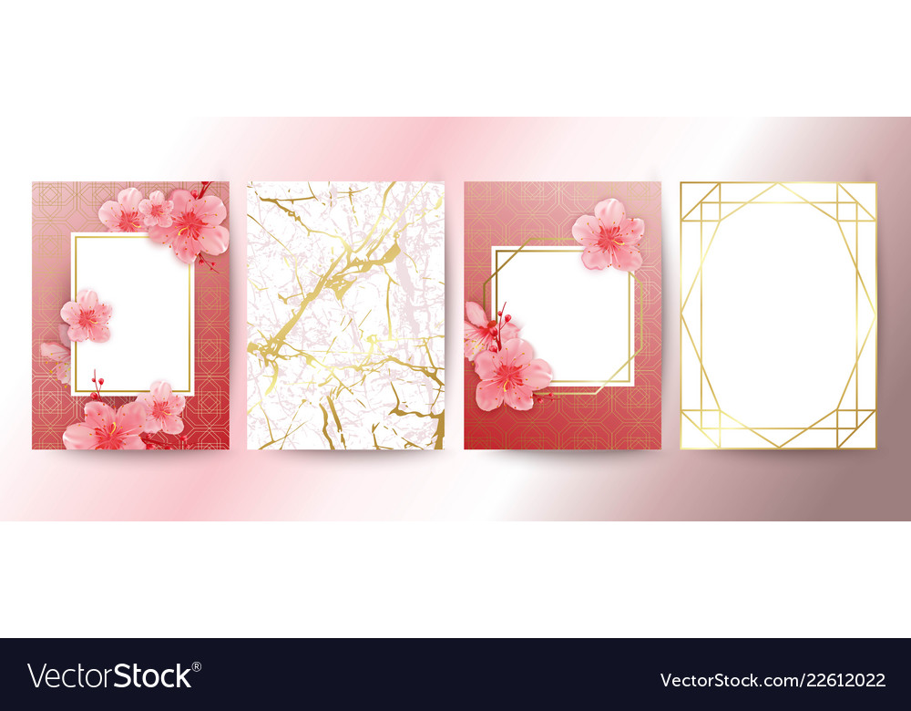 Card with cherry blossoms geometric frame white