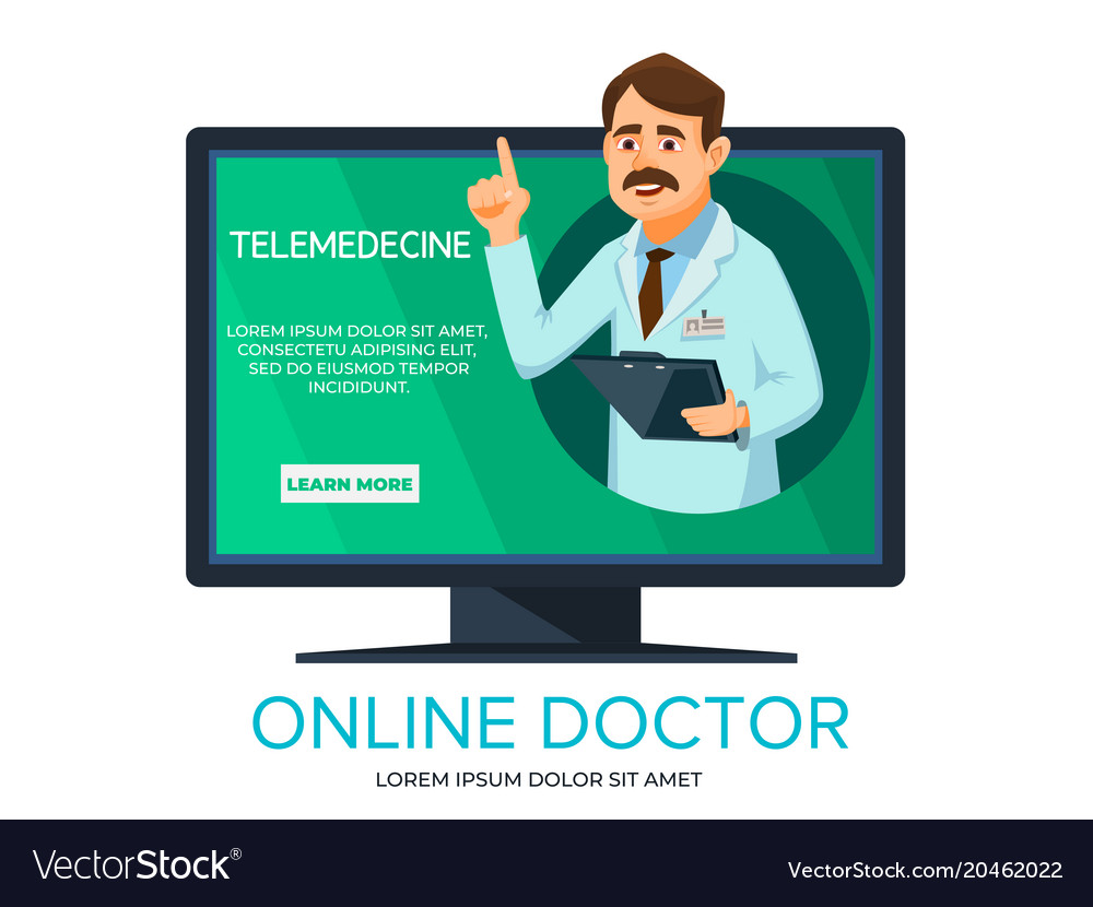 Cartoon online doctor consultation