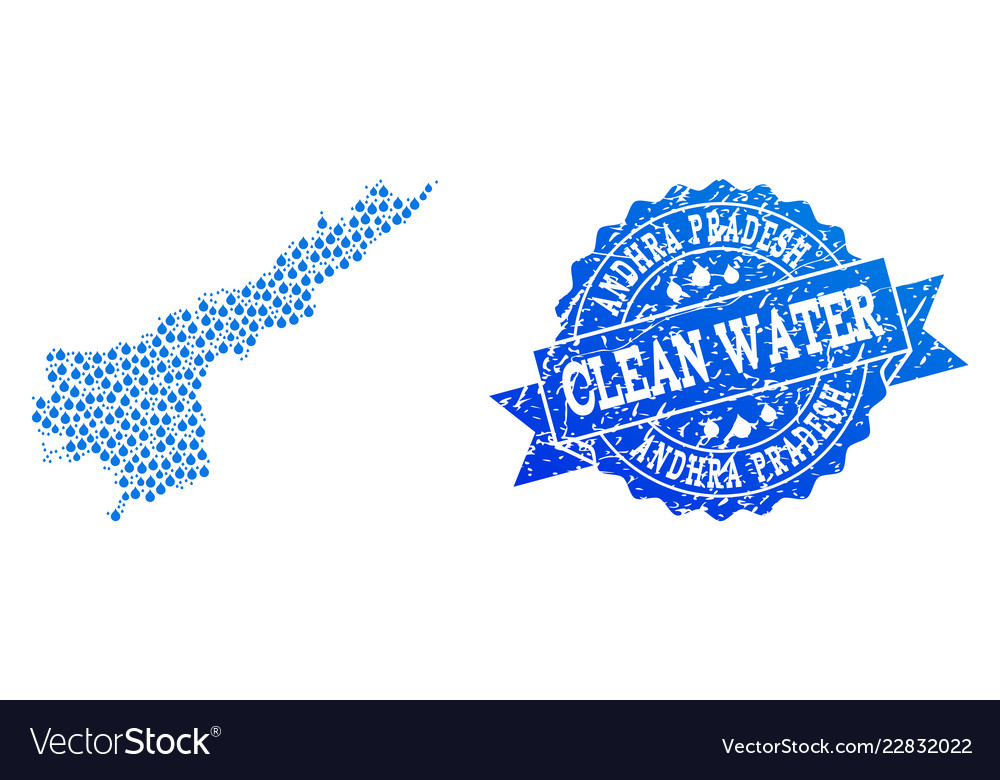 Collage map of andhra pradesh state with water Vector Image