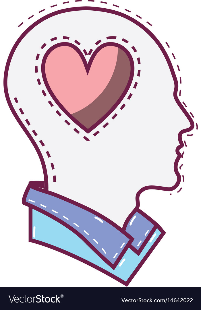 Color silhouette head with heart inside