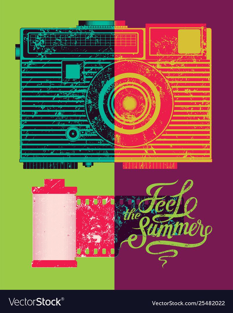 Feel summer typographic retro grunge poster