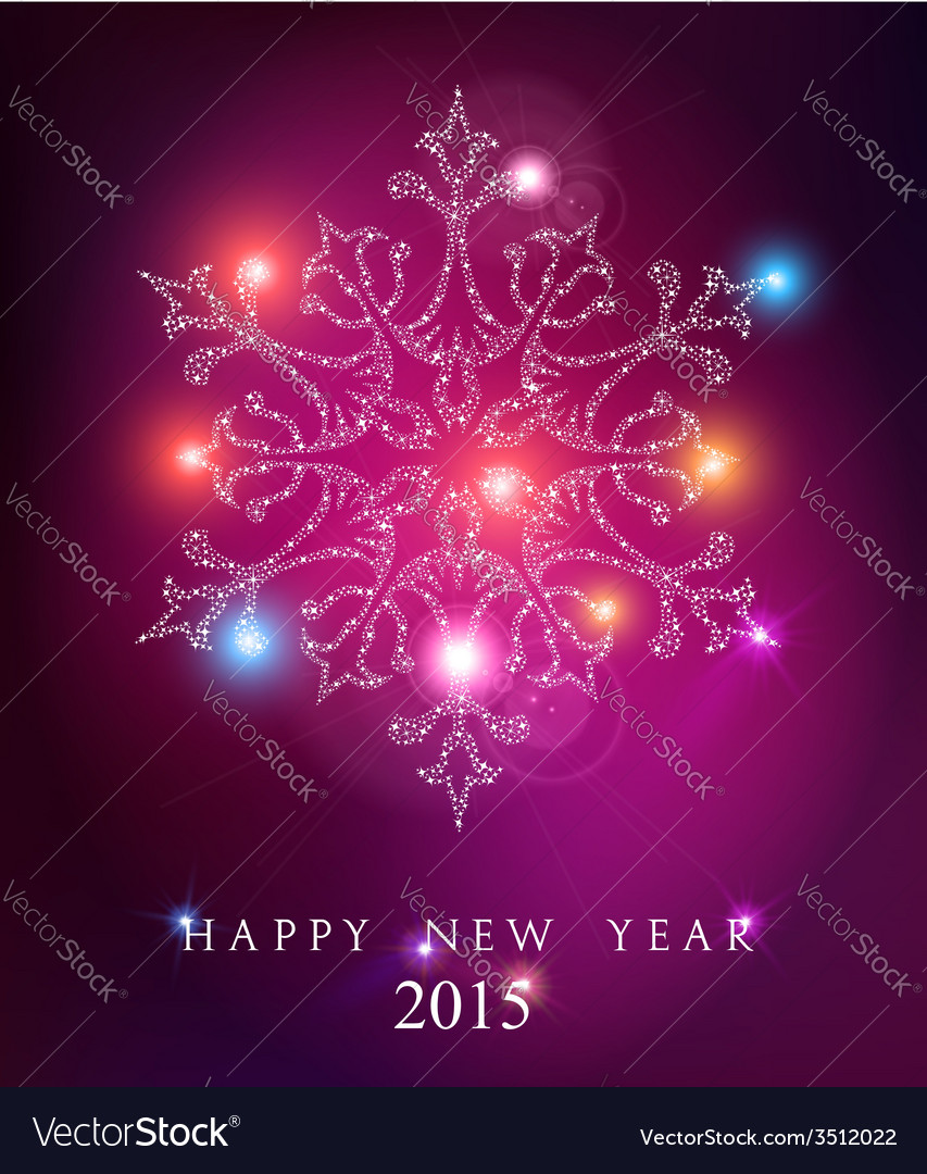 Happy new year 2015 elegant card background vector image
