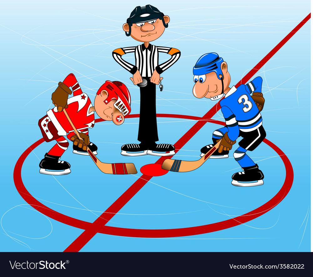 Ice Hockey Cartoon Royalty Free Vector Image Vectorstock