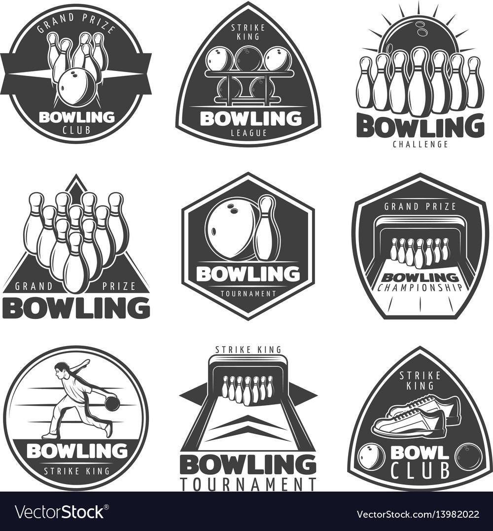 Monochrome bowling labels set