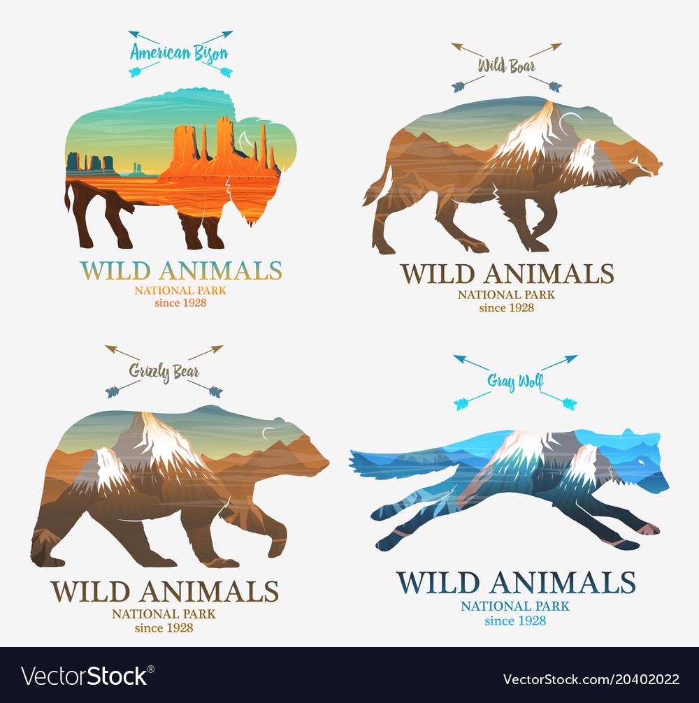 Mountains and boar bear fox buffalo silhouette