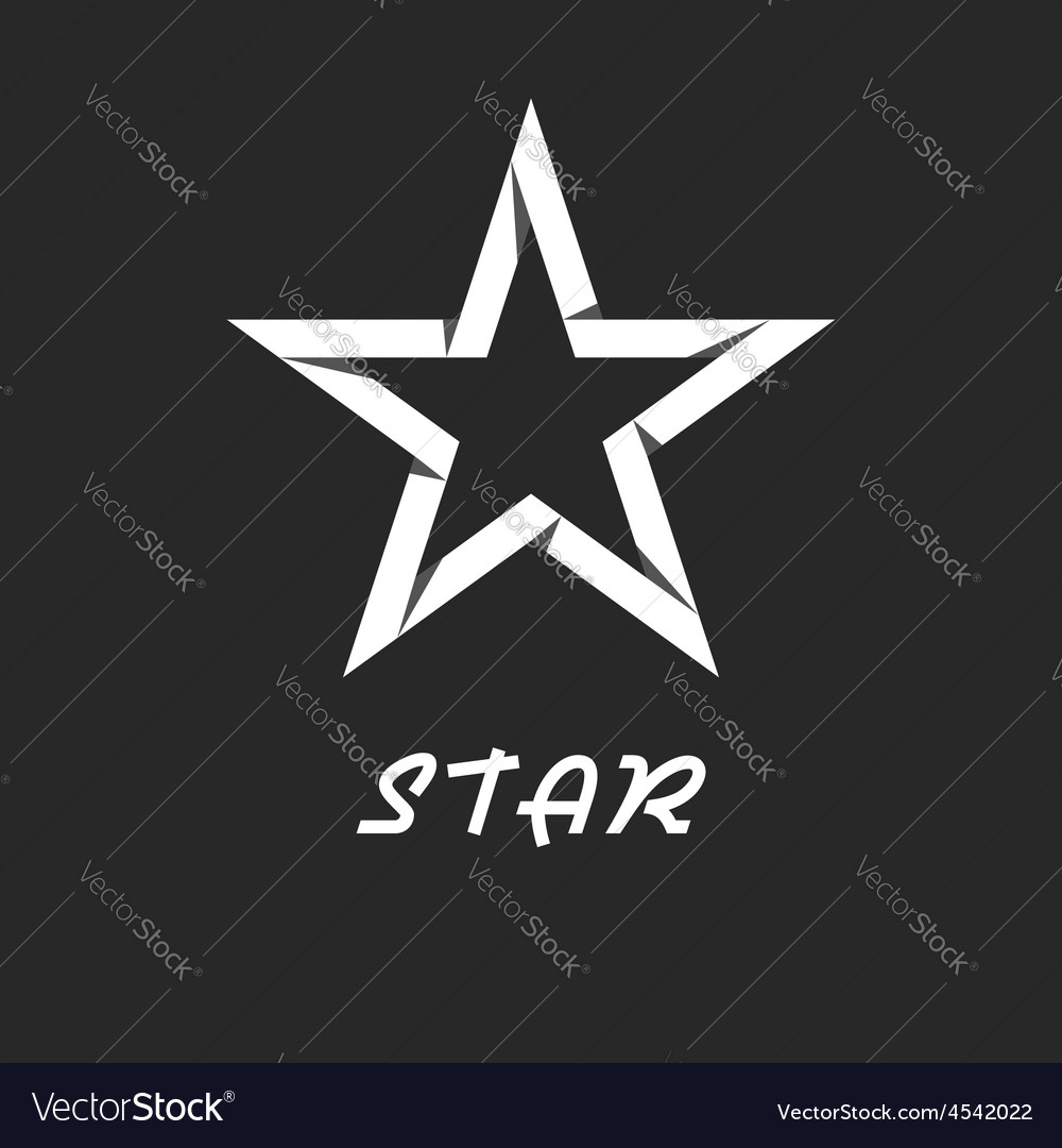 Paper star mockup black and white logo design vector image