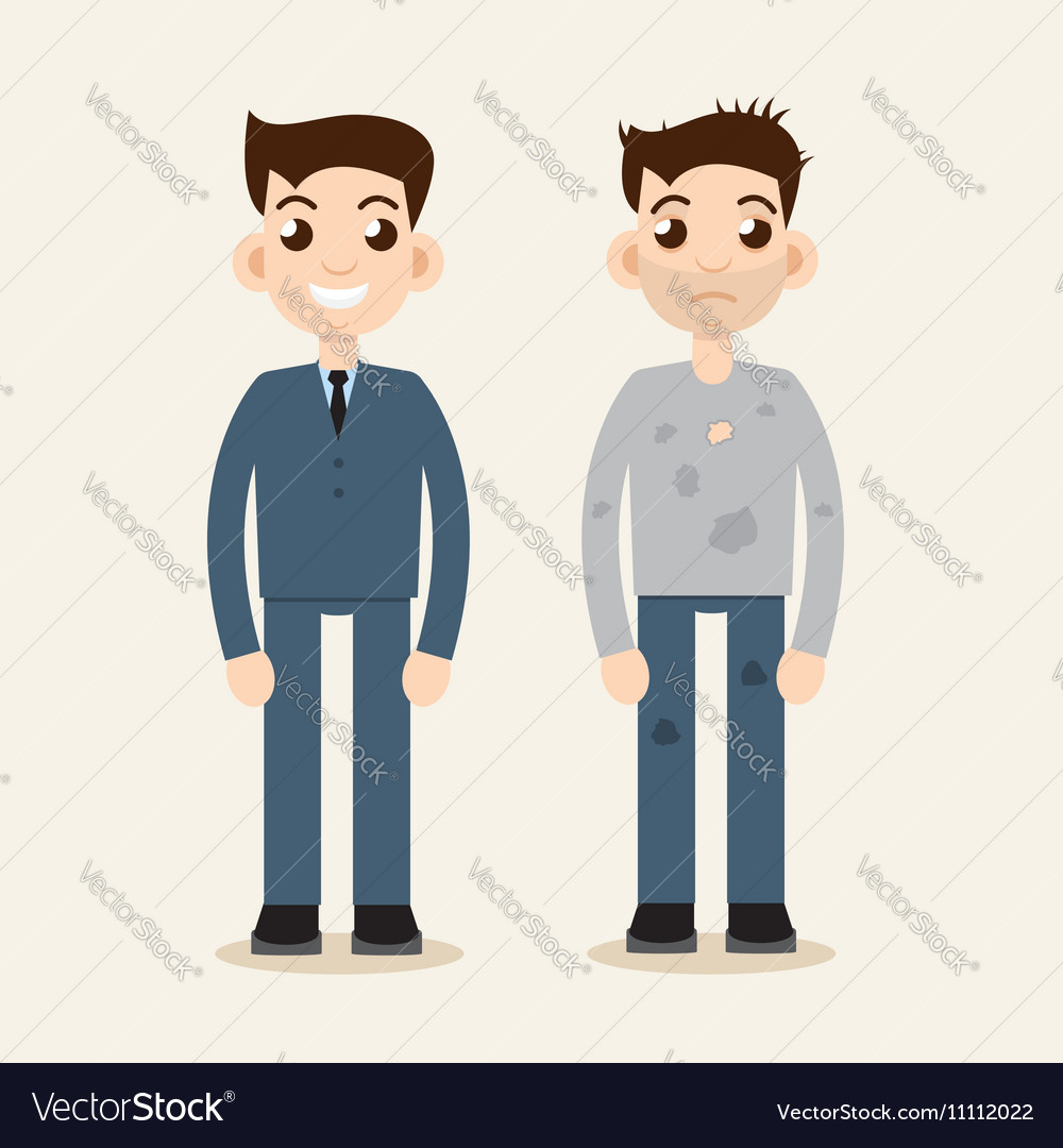 rich and poor man wealth and poverty poor beggar vector image