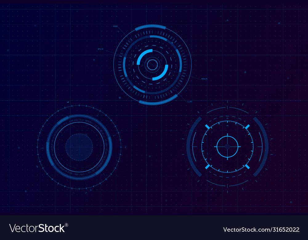Set hud circle targets sci-fi round head-up