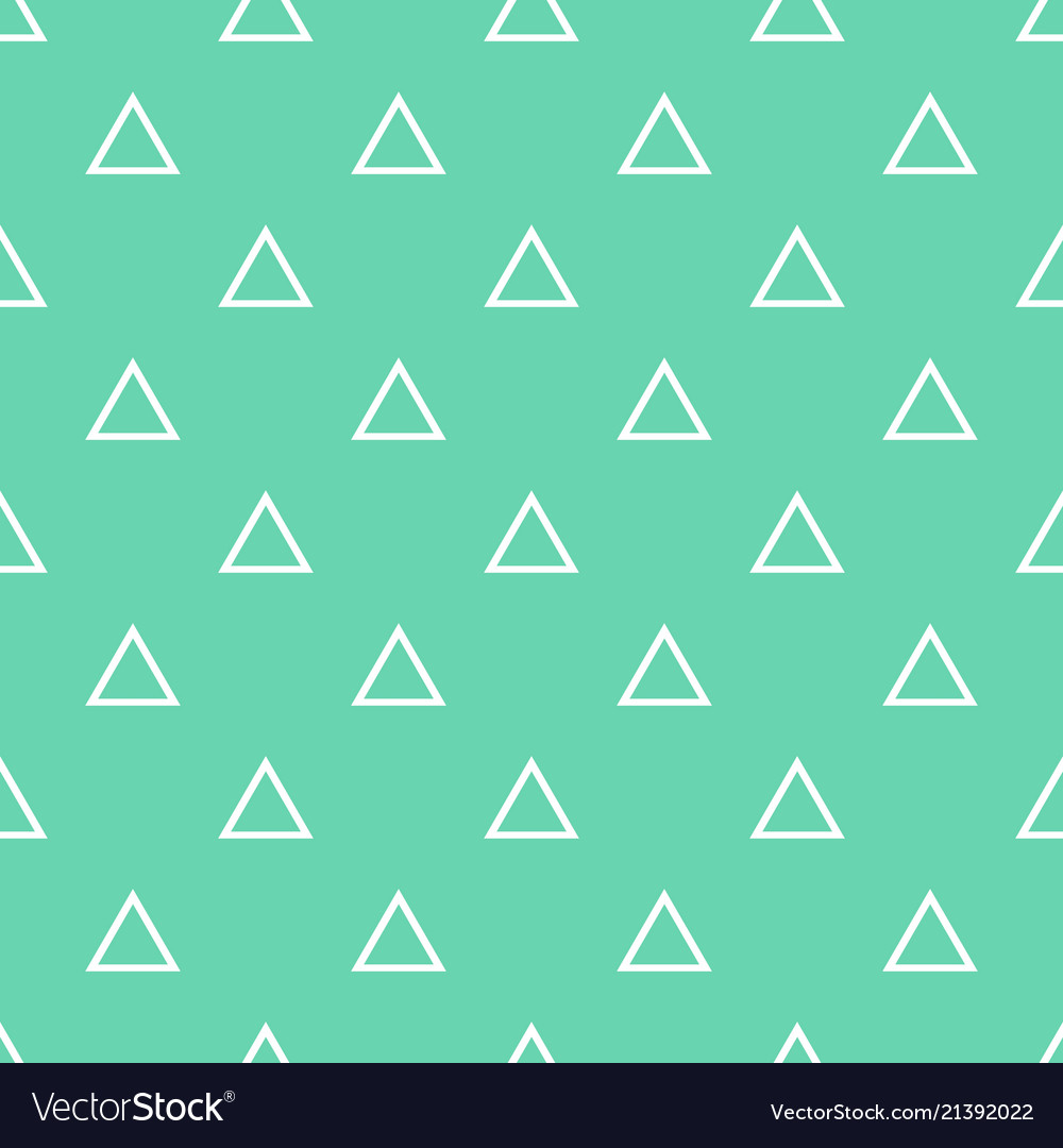 Tile pattern with white triangles on mint green Vector Image