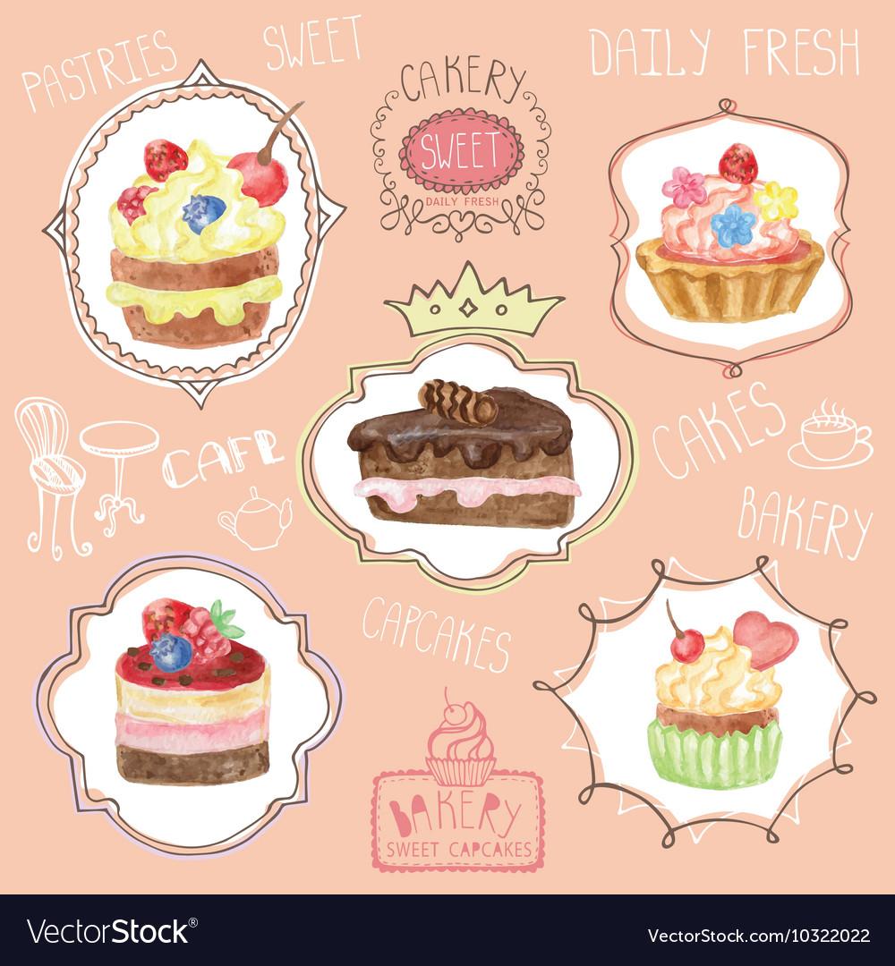Watercolor sweet cakes label set