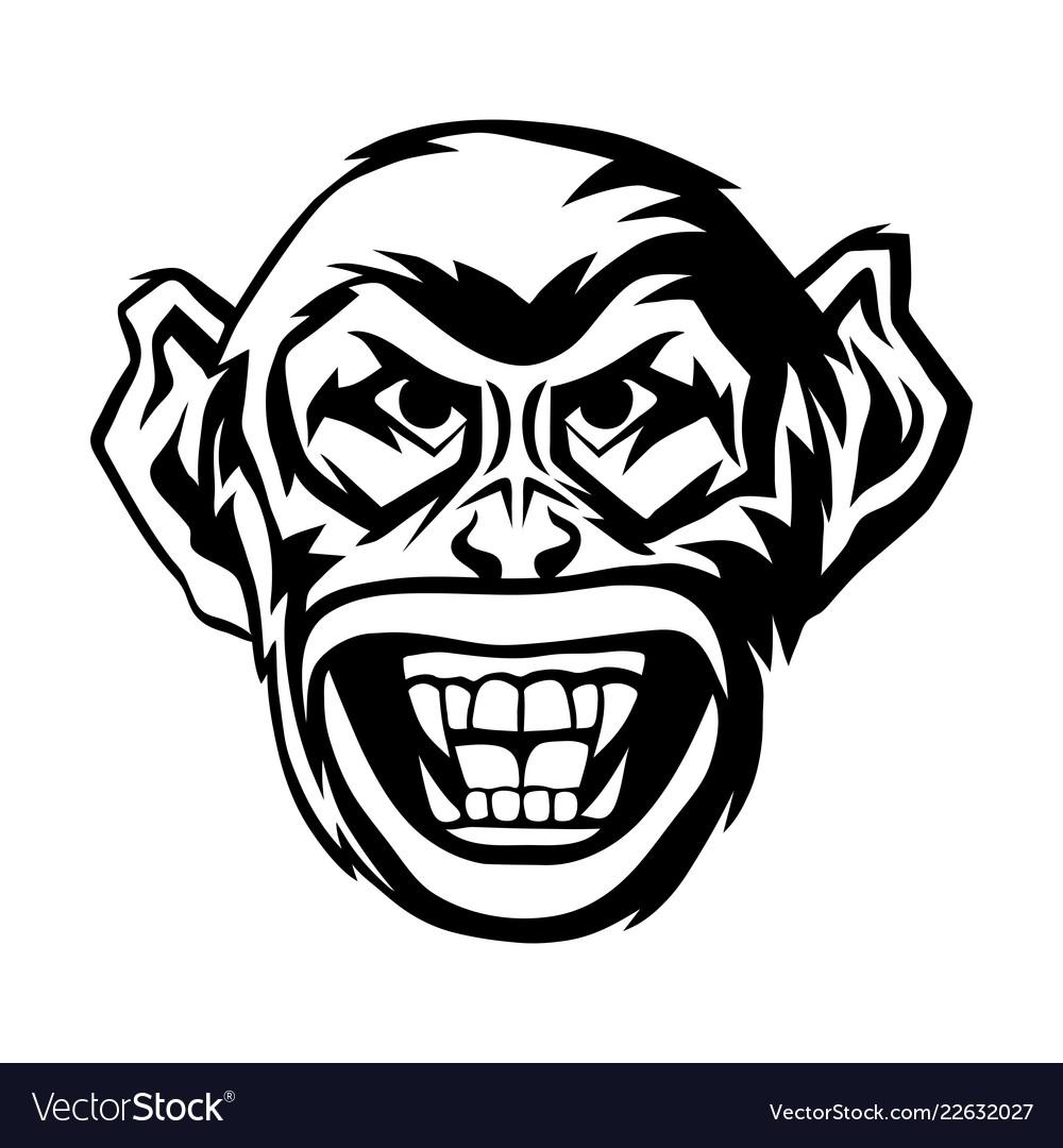 Angry monkey head