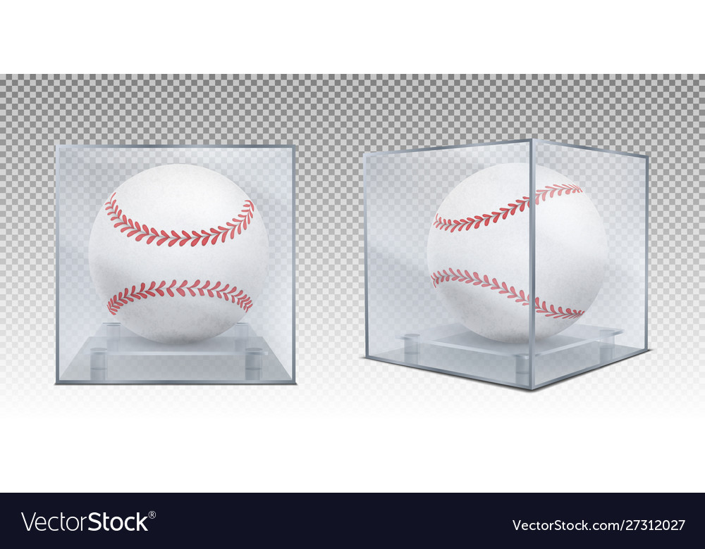 Baseball balls in glass case front and corner view