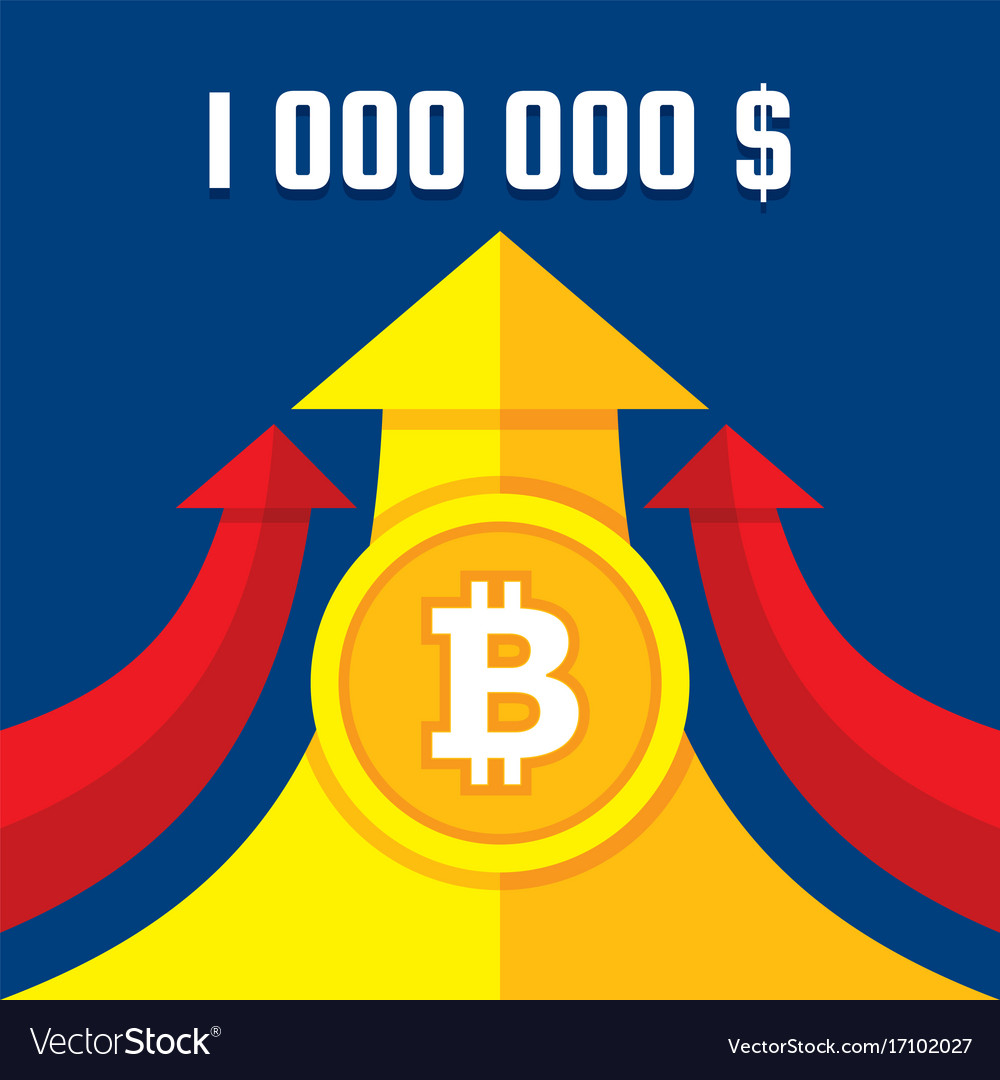 Bitcoin Growth Up To One Million Dollars Vector Image