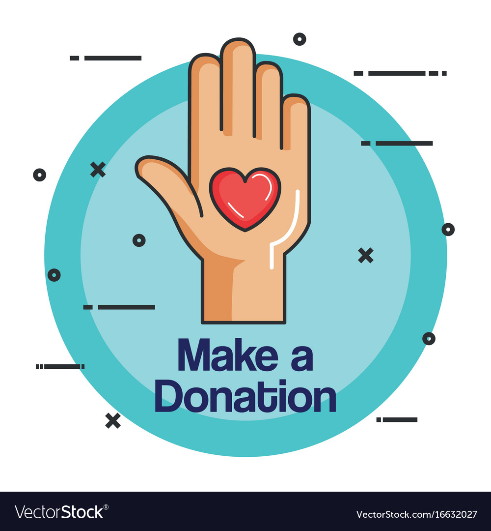 Charity emblem hands holding heart icon