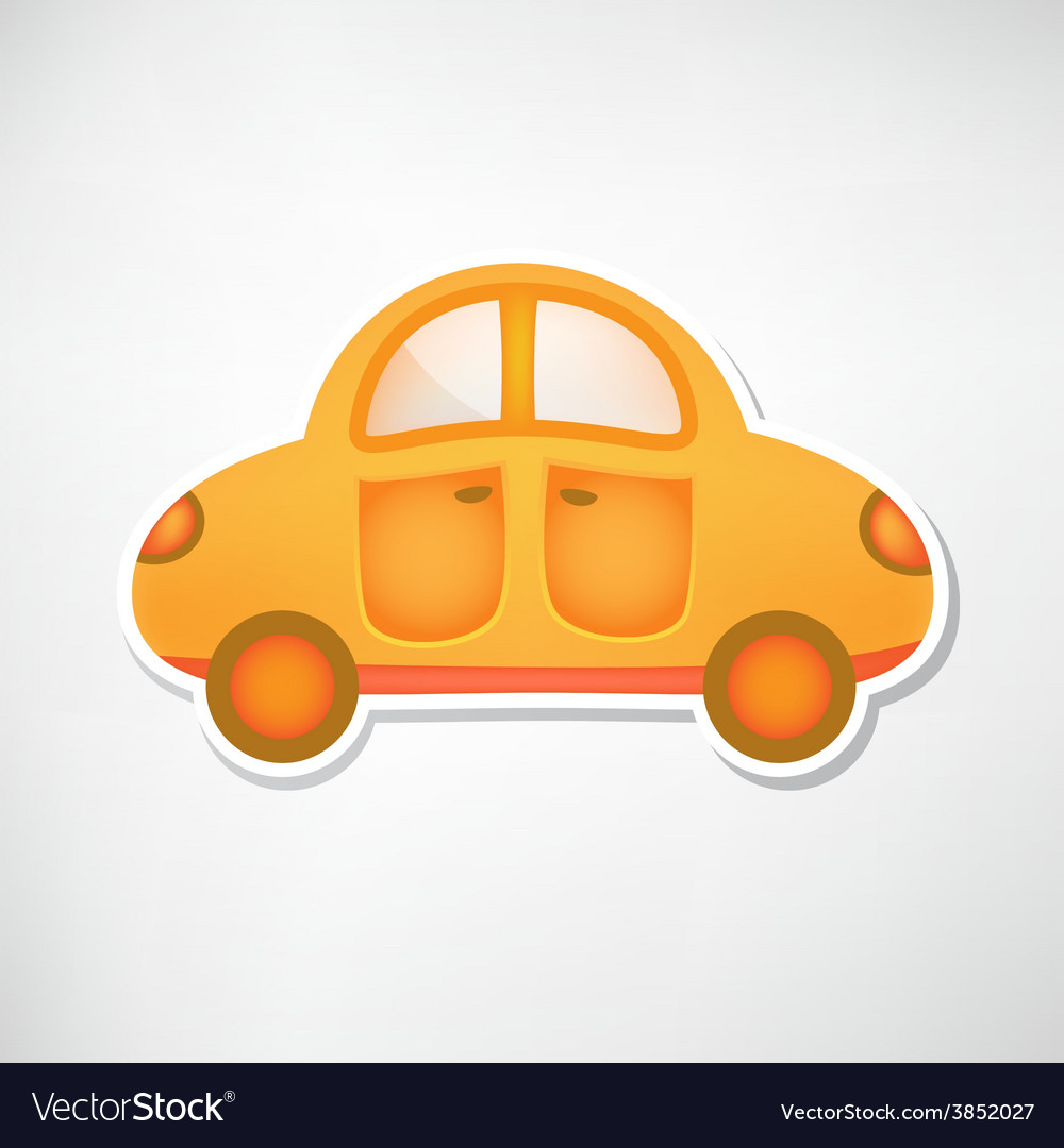Cute Orange Toy Car Icon Isolated Royalty Free Vector Image