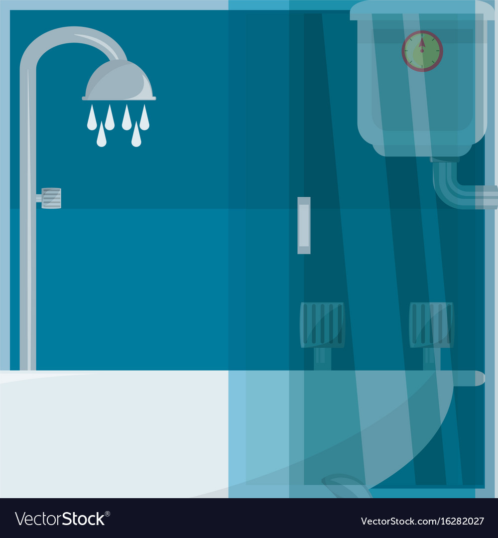 Flat set icon shower stall and heating Royalty Free Vector