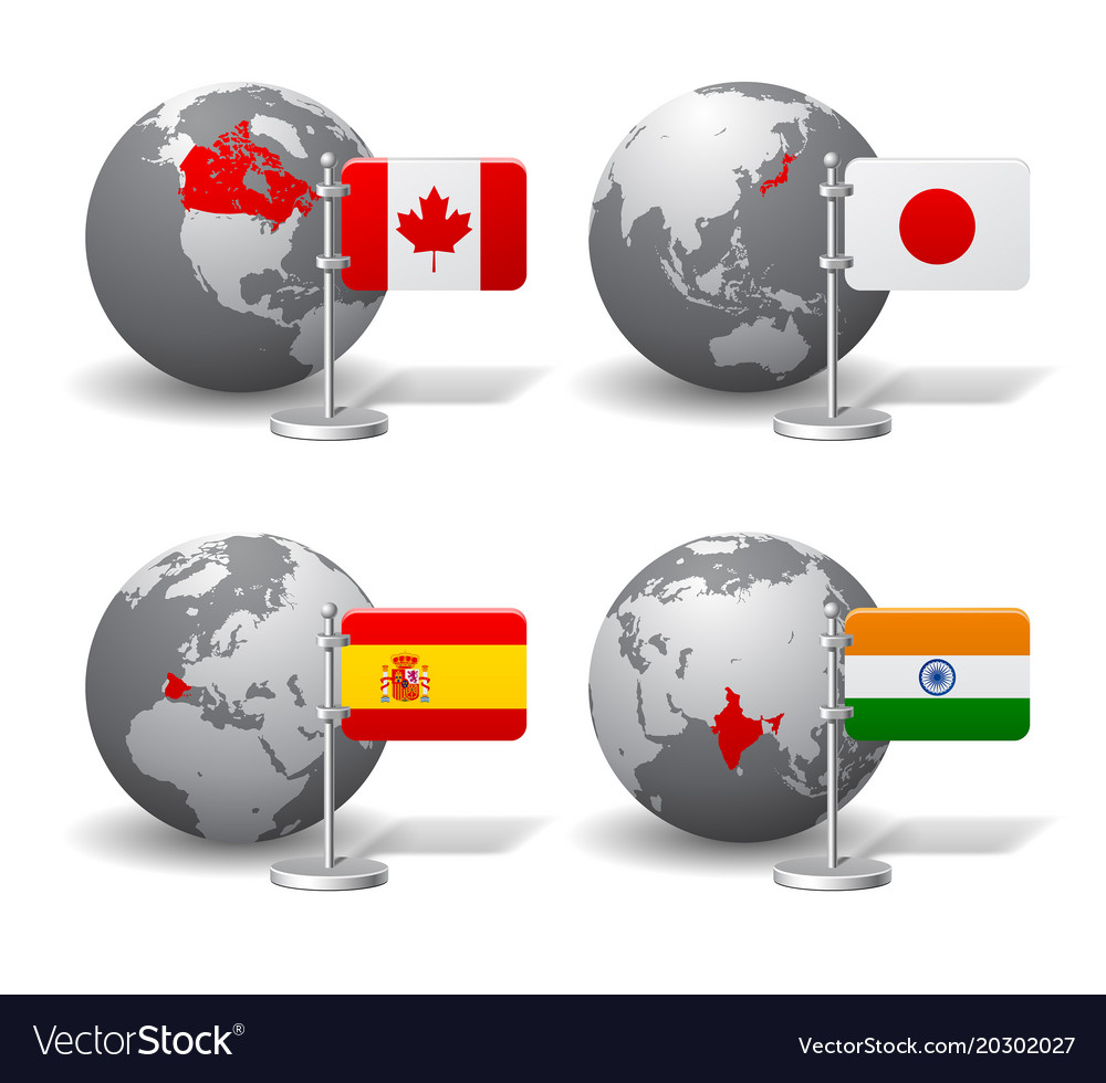Gray earth globes with designation of canada