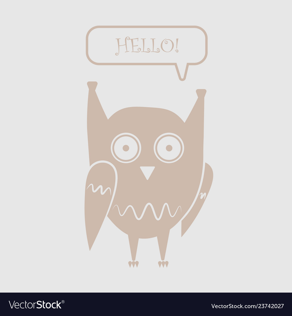Icon funny owl with the words hello in the dialog