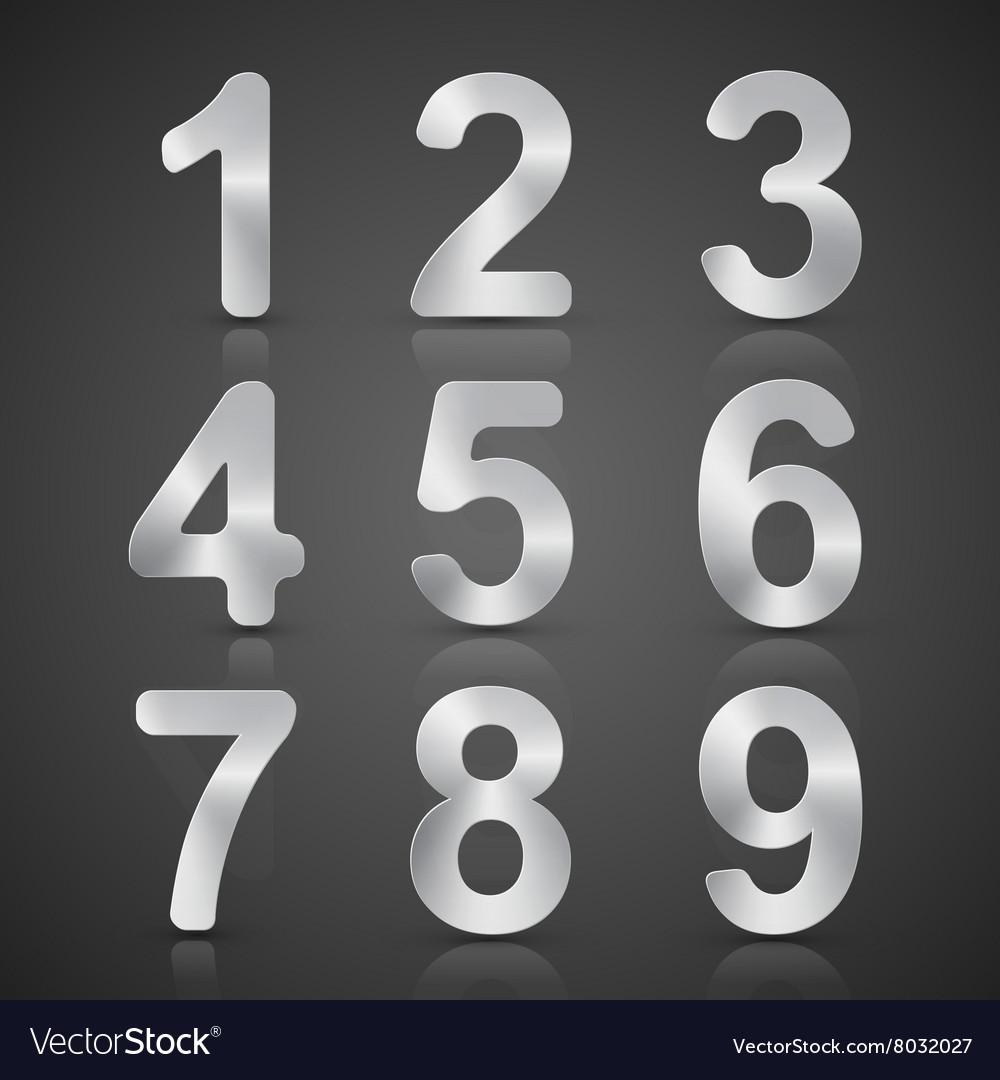 Metallic Silver Number Set
