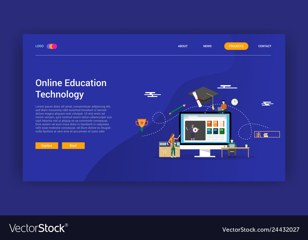 Online education technology concept for learning
