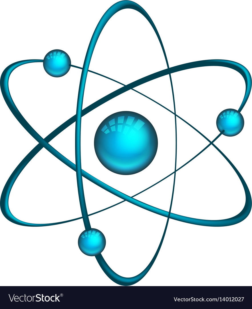 Physics atom model with electrons