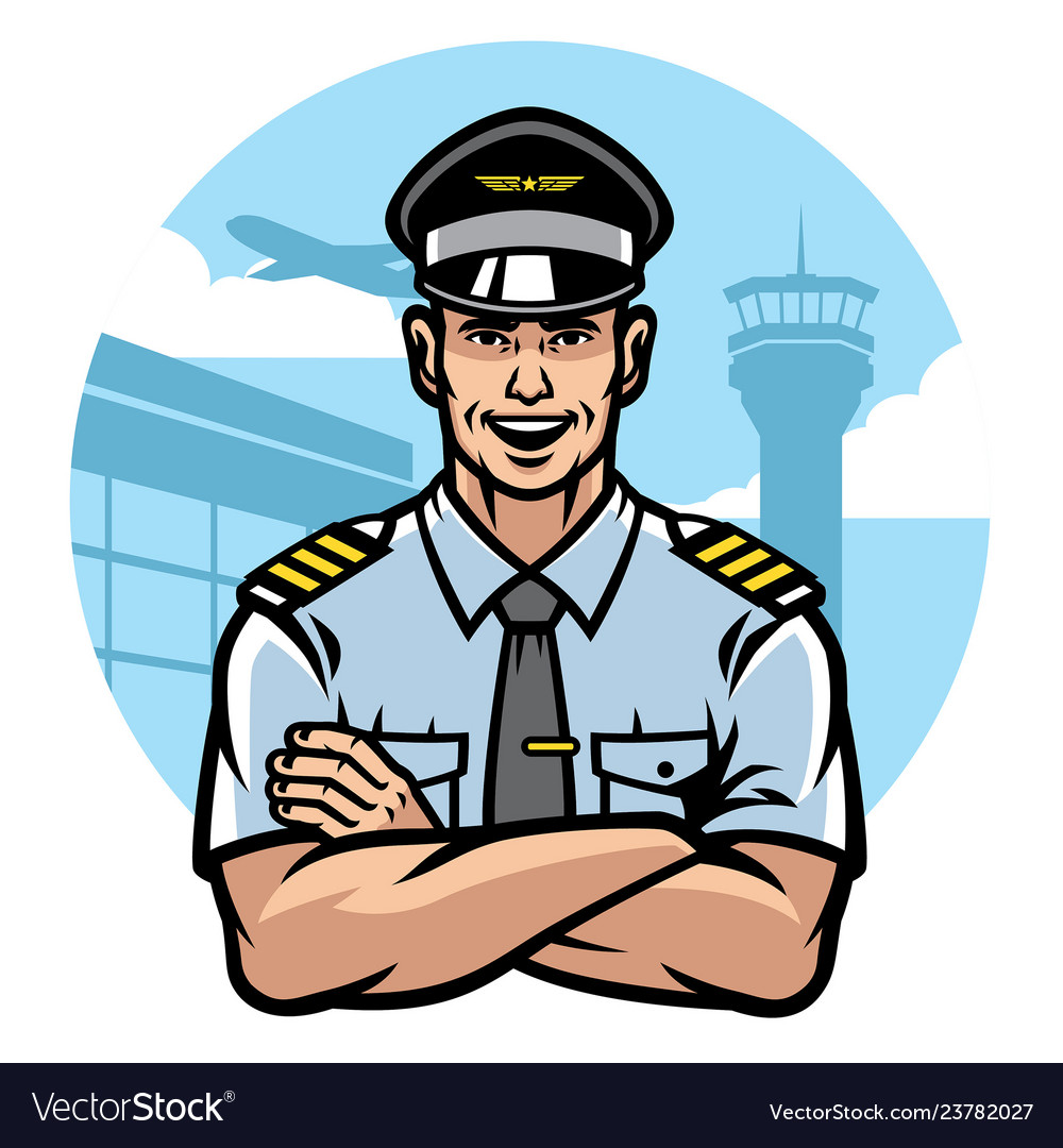 Pilot smiling and crossing the arms