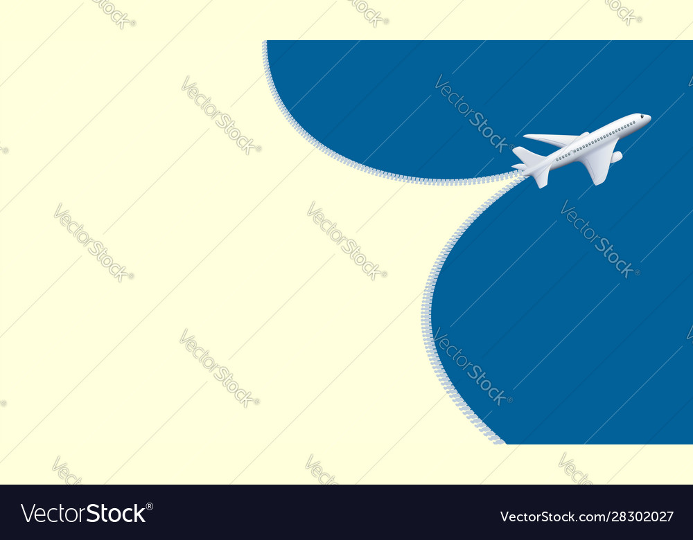 Plane flies in sky trace from an airplane as zippe