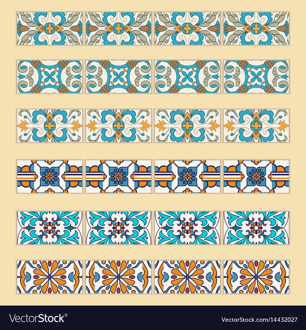 Set Of Decorative Tile Borders Royalty