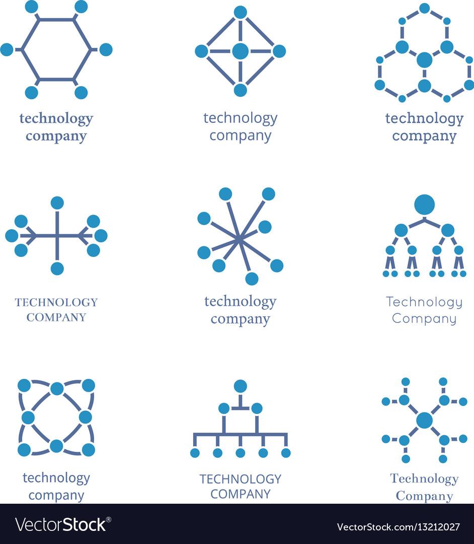 Technology company logo set technological